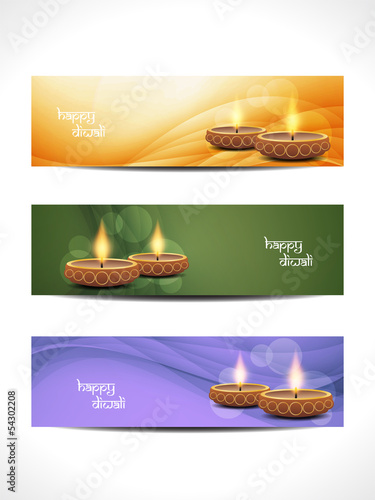 vector web header/banner designs for diwali.