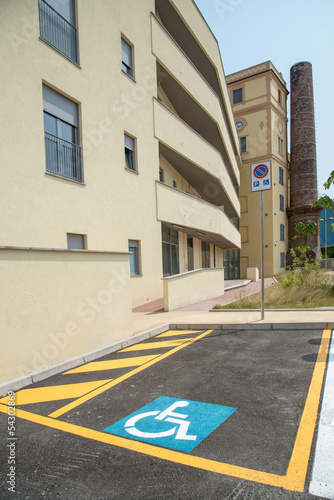 handicapped parking space in new building