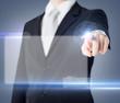 male hand touching virtual screen