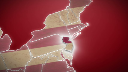 USA map, New Jersey pull out, all states available. Red
