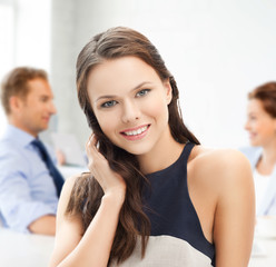 attractive young businesswoman in office