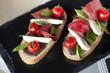 Tartine, tomate, jambon, mozzarella, sandwich, tapas