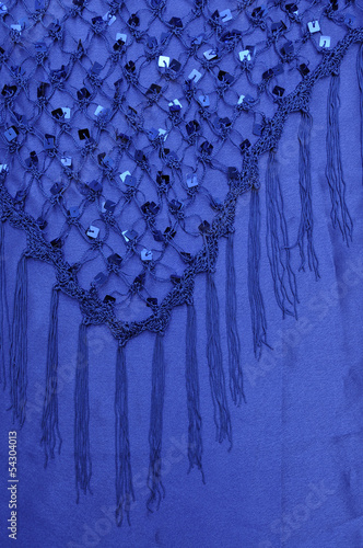 Net Shawl with Square Sequins