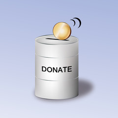 Donation container with coin on top