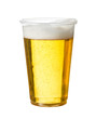 Golden lager or beer in disposable plastic cup - 54304690