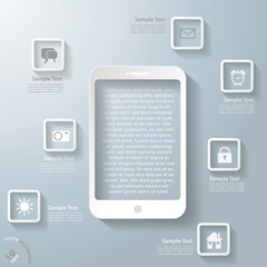 White Smartphone With Apps Infographic