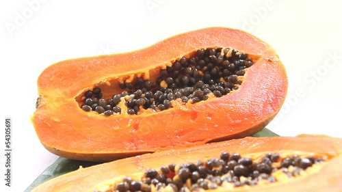 close-up to cutting half papaya