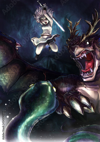 Foto op Plexiglas Ridders A warrior girl is fighting a giant serpent with her dragon