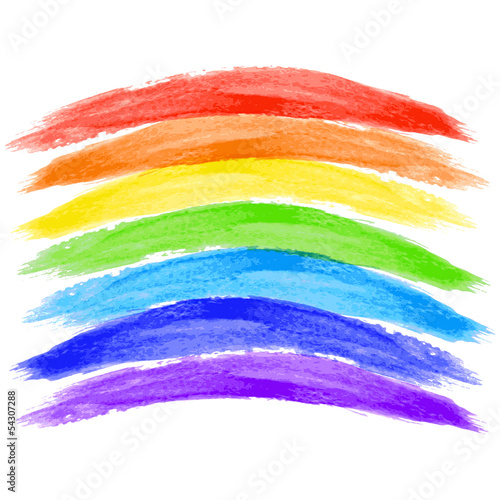watercolor rainbow on white background - vector illustration