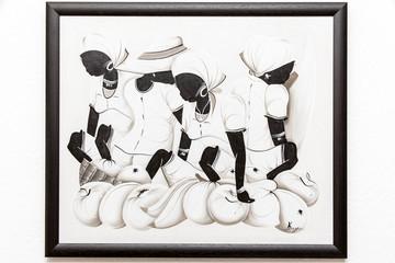 Kunstdruck - Marktfrauen mit Krügen in braunem Rahmen