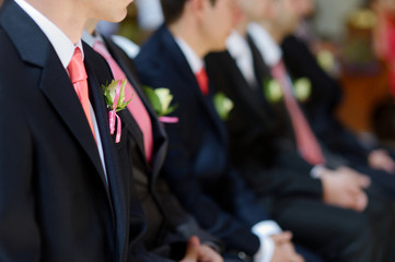Wedding boutonniere on jacket of groom's man