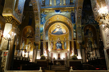 Palermo, Italy, Golden mosaic in La Martorana church