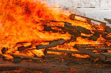 Pallet Fire Burns Strongly