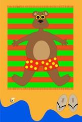 personaggio di orso in spiaggia