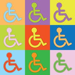 Farbiger Rollstuhl