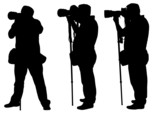 photographers with monopod silhouettes - vector