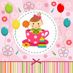 little baby girl in cup - vector illustration