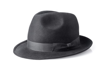black male felt hat isolated on white background