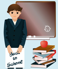 Schoolboy with  books, vector illustration