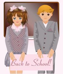 Back to school, cute school children, vector