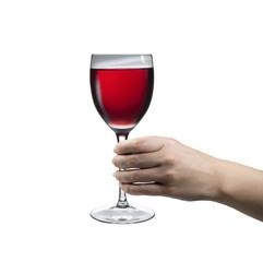 Hand hält glas mit gekühltem Rosewein