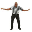 Attractive fit black man in referee uniform facing front and blo