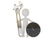 3d humanoid character with a wrench tool and clock