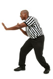 Attractive fit black man in referee uniform facing side and yell