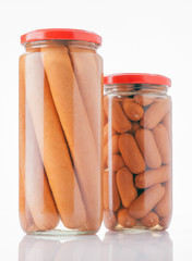 frankfurters preserved in glass jar