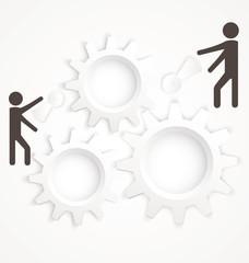 Cog wheel two people vector