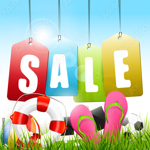 Summer sale - vector background