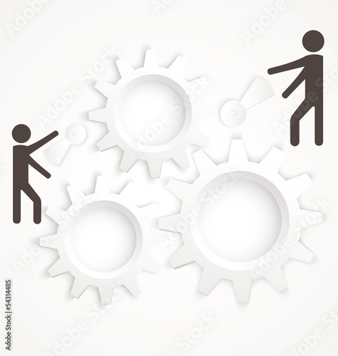 Cog wheel two people vector