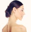 Beautiful woman profile on white