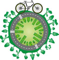 Mundo verde e bicicleta