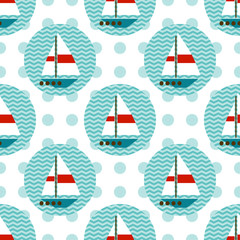 Seamless pattern with sailboats on the waves