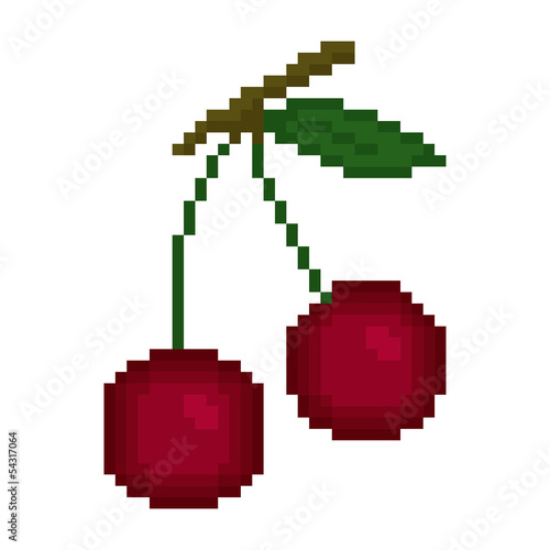 Illustration pixel cherry