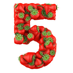 Number five made from Strawberry. Isolated on a white.