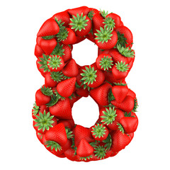 Number eight made from Strawberry. Isolated on a white.