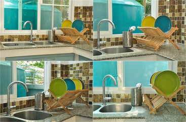 kitchen sink with wooden plate rack in asian kitchen style