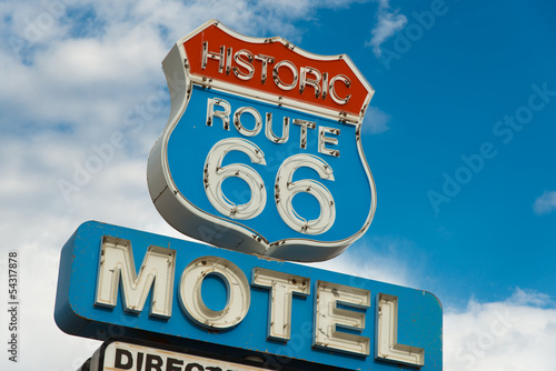 Poster Route 66 Historic route 66 motel sign in California
