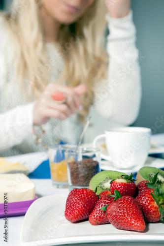 Plate of ripe strawberries for breakfast