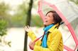 Woman happy with umbrella under the rain