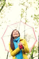 Asian woman in Autumn happy with umbrella in rain