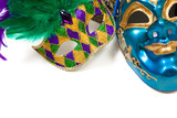 Mardi gras masks on white