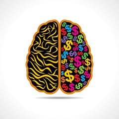 Conceptual idea: silhouette image of brain with dollar symbol