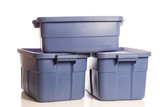 Stack of three blue storage tubs