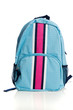 Blue and pink Backpack on a white background