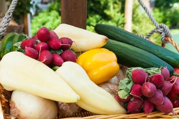 Weidenkorb mit Gemüse