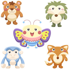 cute animals set