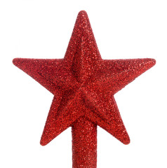 Red glitter star Christmas tree topper
